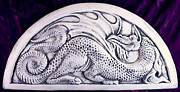 Dragon Ceramics - Relief carved ceramic dragon tile by Shannon Gresham