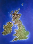 Uk Map Framed Prints - Relief Map Of The United Kingdom And Eire Framed Print by Julian Baum.