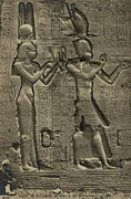 Temple Of Hathor Metal Prints - Relief Sculpture Of Cleopatra Vii 69-30 Metal Print by Everett