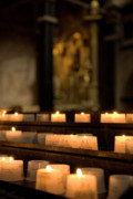 Religious Art Photo Metal Prints - Religion - Candlelight - cathedral of Trier - christian church in antiquity Metal Print by Urft Valley Art