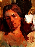 Concern Paintings - Religious Portrait of a Young Boy Man or Woman Reclining in Dramatic Thought Mystery Strong Cont by M Zimmerman MendyZ