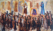 Mexico People Paintings - Religious Street Procession by Bill Joseph  Markowski