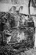 Overcast Day Photo Prints - Remains Of An Old Historic House With Multiple Fireplaces In The Wall Of The Old Town Aberdeen Scotl Print by Joe Fox