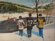 Hockey Painting Metal Prints - Rematch 2008 Metal Print by Ron  Genest