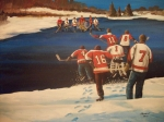 Hockey Painting Metal Prints - Rematch 2010 - The Bullies are Back Metal Print by Ron  Genest