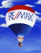 Hot Air Balloon Painting Posters - ReMax Poster by Jamie Frier