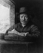 Rijn Prints - Rembrandt Van Rijn 1606-1669, In A Self Print by Everett