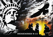 American Eagle Paintings - Remember 9-11 by Tony Vegas