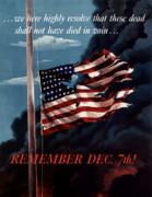 American Flag Digital Art Prints - Remember December Seventh Print by War Is Hell Store