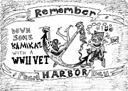 Veterans Drawings - Remember Pearl Harbor Day cartoon by Yasha Harari