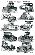 Ford Model T Car Drawings Posters - Remember the Days 1 Poster by Bill Friday