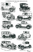 Ford Model T Car Drawings Posters - Remember the Days 2 Poster by Bill Friday