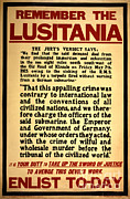 Wwi Propaganda Posters - Remember The Lusitania Wwi Enlistment Poster by Photo Researchers