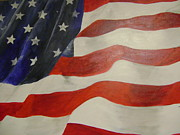 American Flag Mixed Media Originals - Remembered by Barbara Sudik