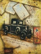Antique Map Mixed Media Originals - Remembered Days by Kathy Cameron