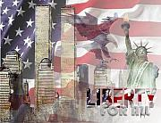 9-11 Posters - Remembering 9-ll Poster by Arline Wagner