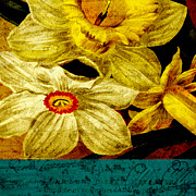 Yellow Flowers Mixed Media Posters - Remembering Poster by Bonnie Bruno