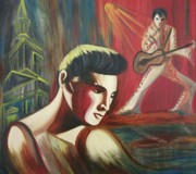 Rock Shapes Paintings - Remembering Elvis by Suzanne  Marie Leclair