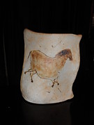 American Pottery Ceramics - Remembering Lascaux - horse by Caprice Scott