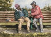 Elderly People Paintings - Remembering The Good Times by Sam Sidders