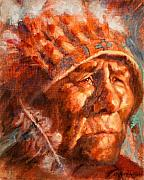 Native American Painting Framed Prints - Remembrance of Things Past Framed Print by Ellen Dreibelbis