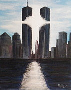 Twin Towers Trade Center Painting Metal Prints - Remembrance Metal Print by Wayne Miller