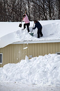 Extreme Weather Photos - Removing Snow From A Building by Ted Kinsman