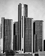 Renaissance Center Framed Prints - Renaissance Center - Black and White Framed Print by Alanna Pfeffer