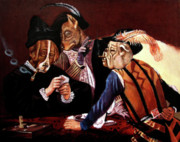 Caravaggio Paintings - Renaissance Dogs Playing Poker by Eel Eye