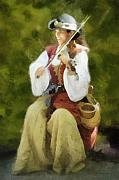Fiddler Digital Art - Renaissance Fiddler Lady by Francesa Miller