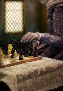Chess Piece Posters - Renaissance Lady Playing Chess Poster by Jill Battaglia