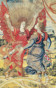 Archangel Prints - Renaissance Tapestry Detail Print by Photo Researchers