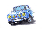 Rally Drawings Posters - Renault 8 Gordini Amazing Drift Poster by Atanas Panchov