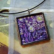 Acrylic Necklace Jewelry - Rendition of Starry Night in Amethyst by Dana Marie