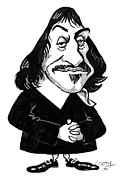 Rene Framed Prints - Rene Descartes, Caricature Framed Print by Gary Brown