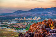 Highway Posters - Reno Nevada Cityscape at Sunrise Poster by Scott McGuire