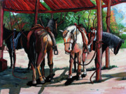 Stable Painting Originals - Rent a Horse by Bob Crawford