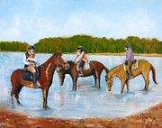 Dog In Lake Prints - Renzo Horseback Riding in Marlu Lake Print by Leonardo Ruggieri