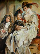 Rubens Metal Prints - Replica of Helena Fourment with her Children by Rubens Metal Print by Tigran Ghulyan