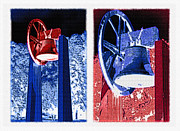 Democracy Mixed Media Framed Prints - Replica of Liberty Bell - Americana RWB Diptych - Inverted Framed Print by Steve Ohlsen