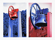 Honor Mixed Media Framed Prints - Replica of Liberty Bell - Americana RWB Diptych Framed Print by Steve Ohlsen