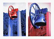 Replica Of Liberty Bell - Americana Rwb Diptych Print by Steve Ohlsen