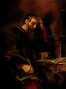 Sermon Painting Prints - Replica of Rembrandts Apostle Paul Print by Tigran Ghulyan
