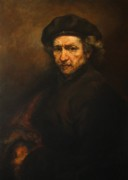 Dutch Posters - Replica of Rembrandts Self-portrait Poster by Tigran Ghulyan