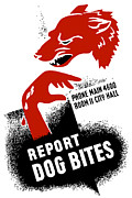 Wpa Framed Prints - Report Dog Bites Framed Print by War Is Hell Store