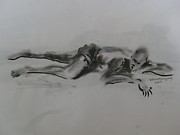 Rest Drawings - Repose by Etim Ekpenyong
