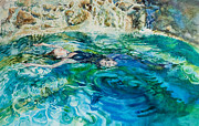Lifestyle Painting Posters - Repose In A Pool In France Poster by Gilly  Marklew