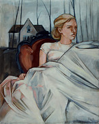 Girl Paintings - Repose by Jacque Hudson-Roate
