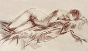 Figure Drawing Pastels Prints - Repose Print by Karen A Robinson
