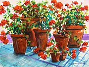 Red Geraniums Framed Prints - Repotted Geraniums by John Williams Framed Print by John  Williams
